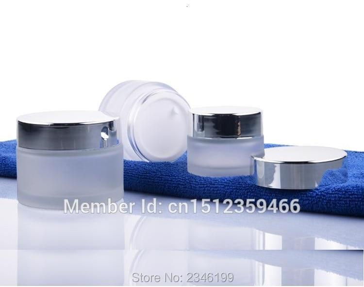 50G 50ML Frost skleněná nádoba s jasně stříbrným uzávěrem, kosmetický krém balení kontejner, matná skleněná láhev, prázdná sklenice, 10ks / hodně