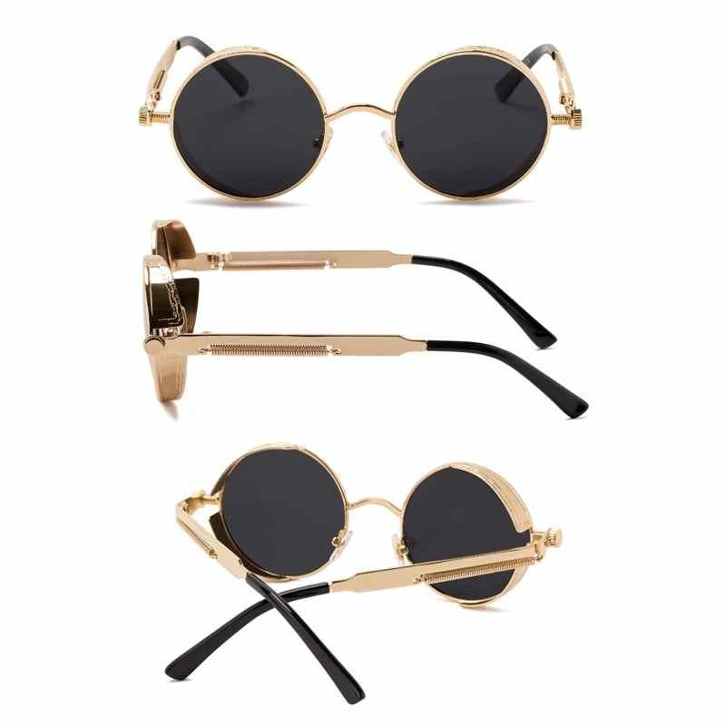 da0151af40 ... SPLOV Vintage Round Polarized Sunglasses Retro Steampunk Sun Glasses  for Men Women Small Metal Circle Driving ...
