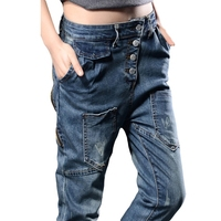 Womens Oblique Button Fly Low Waist Jeans For Women Autumn Spring Individuality Denim Cross Pants Zipper Pocket Jeans Woman