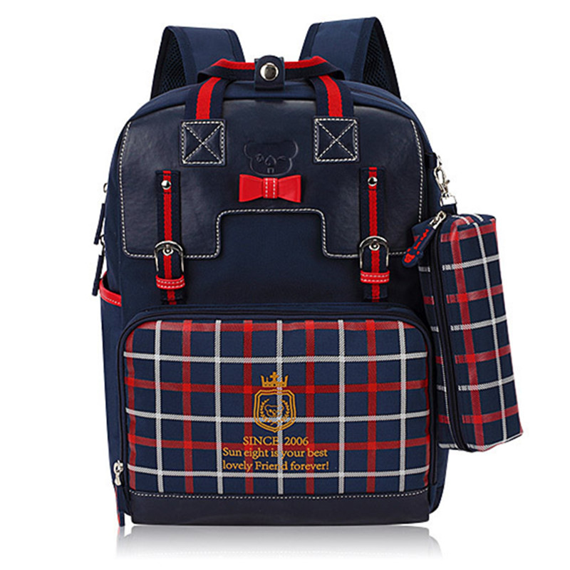 Новый многофункциональный бренд решетки плеча школьная сумка рюкзак моды в Корейском стиле ранцы для девочек-подростков давая пенал
