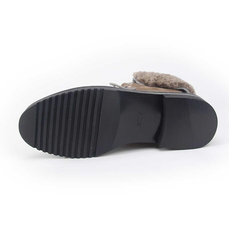 VALLU 2018 Kadın Kış Ayakkabı Sıcak yarım çizmeler Doğal Inek Süet Kadın Ayakkabı Kar Botları
