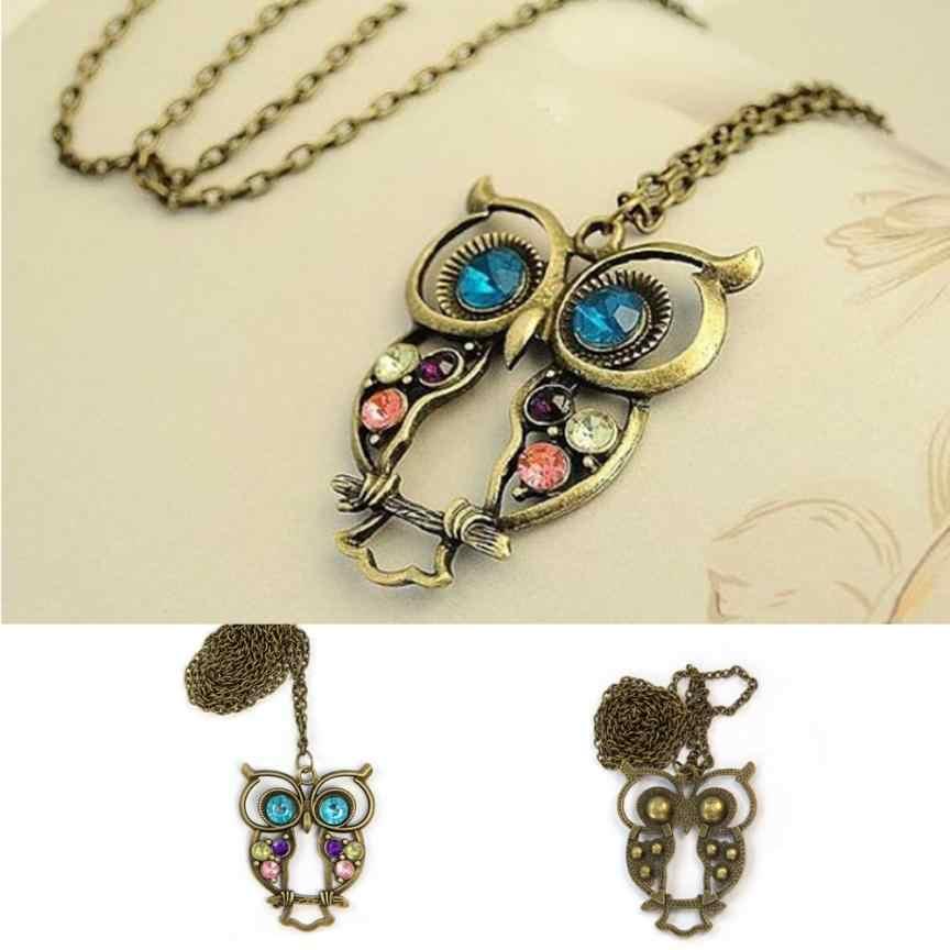 Fashion Lady naszyjniki z kryształem duży niebieski Eyed Owl wisiorek z długim łańcuszkiem sweter płaszcz naszyjniki biżuteria akcesoria wisiorek ozdoba