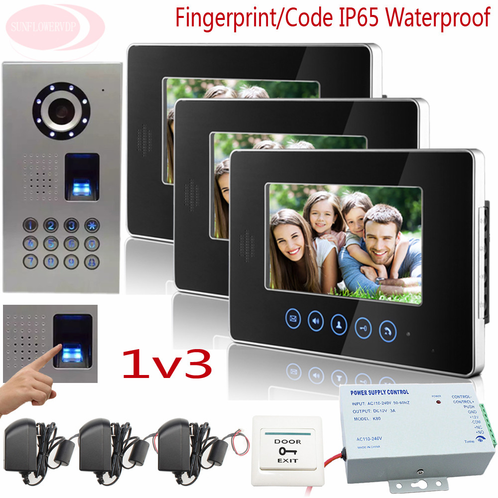 Sunflowervdp Fingerprint /Code Home phone IP65 Waterproof Doorbell With Camera Video Intercom System Touch Key 7 Color Lcd 1V3 sunflowervdp fingerprint door phone ip65 waterproof ccd 700tvl camera intercom with screen 7inch hd color images system unit 1v3