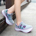 Floral Printing Rocker Sole Shoes Lace Up Casual Platform Women Shoes Health Shoe 2017 Latest Printed Thick Heel Leisure Massage