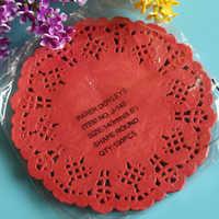 100pcs 5.5'' 14cm Scrapbooking Craft Red Vintage Lace Paper Doilies decoupage paper design placemats for  event party supplies
