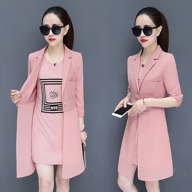 3d90df896 korean fashion new chiffon mini tank dress and long top blazer two pcs lady  office girl suit dress design clothes summer