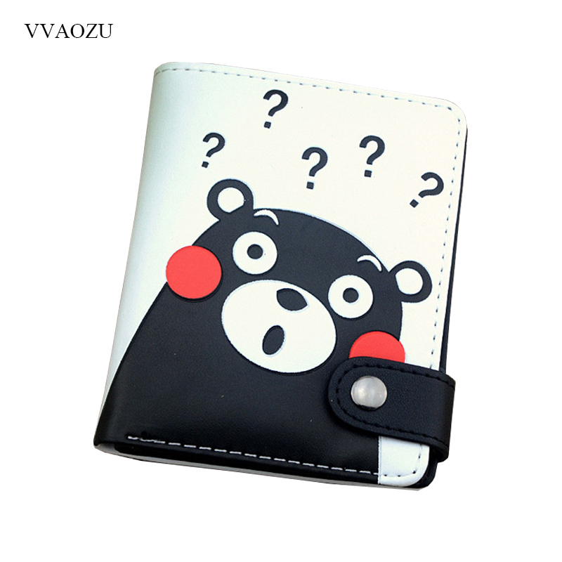 Cartoon Cute Short Wallet Anime Kumamon Men's Women's Purse Small Clutch Card Holder Dollar Bag for Teenager Boy Girl anime cartoon pocket monster pokemon wallet pikachu wallet leather student money bag card holder purse