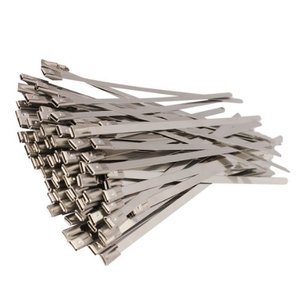 Promotion! 100pcs 5.9 Inches Stainless Steel Exhaust Wrap Coated Locking Cable Zip Ties