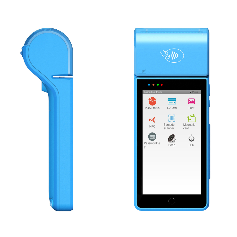 5 inch Touch Screen Handheld Android 7 0 POS terminal with NFC reader PCI and EMV