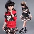 Camisola longa Da Luva + Pintura Mini Saia Princesa Fantasia Roupas Sportswear Ropa de Nino 4-15year De Conjuntos de Roupas Meninas Para Crianças