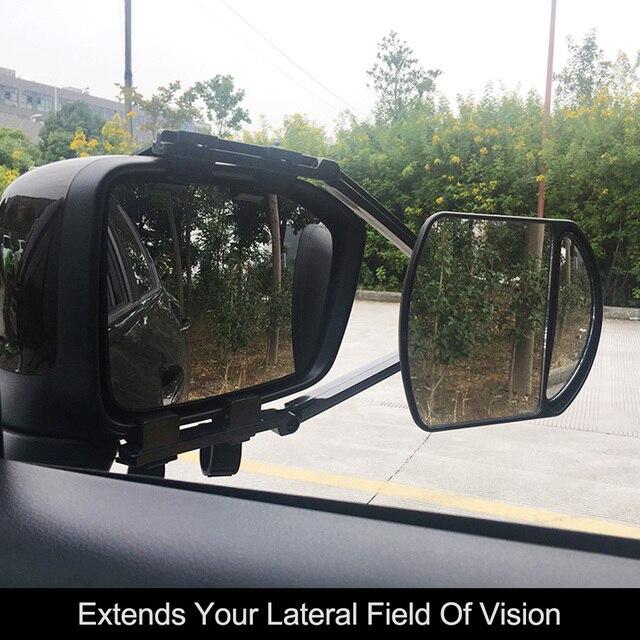 مشبك قابل للتعديل على مقطورة سحب المزدوج مرآة سيارة قافلة مقطورة مرآة الرؤية الخلفية تمديد سحب مرآة الزجاج ل سيارة قافلة