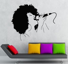 Removable Vinyl Wall Decal Black Lady Singer Music Woman Karaoke  Sticker Room Decor KW-170