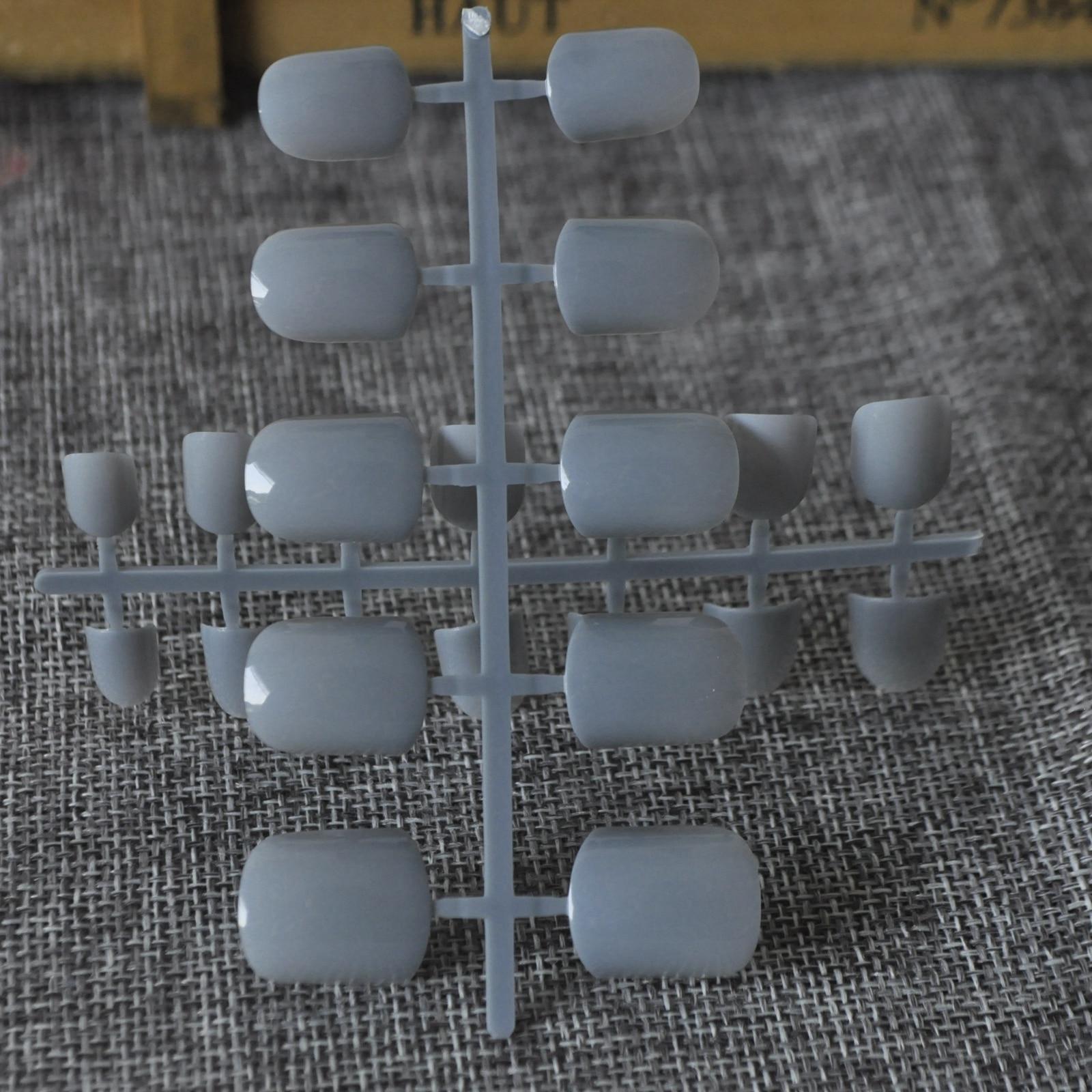 24 stks Platte Top Blauw Grey Kunstnagels Snoep Pure Kleur Acryl ...