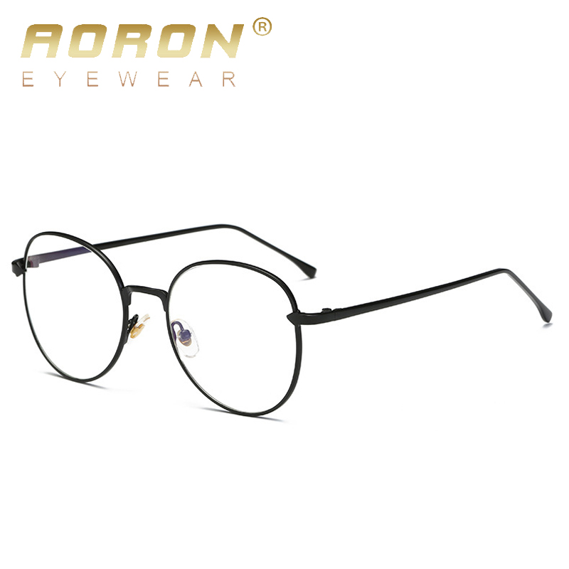 AORON Blue Light Computer Glasses Frame Gaming Glasses Spectacle Women Men Metal And Vintage Eyeglasses Round Full-Rim eyewear