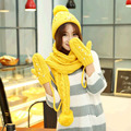 2015 Winter New Arrival High Quality Fashion Knitted Scarf Hat Glove Set for Women