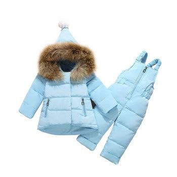 2019 Winter Baby Boy Girl clothing Set warm Down Jacket coat Snowsuit Children parka real fur Kids Clothes Ski Overalls overcoat