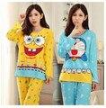 Venda quente! primavera Pijamas Das Mulheres Definido Macio Dos Desenhos Animados Bob Esponja Pijamas Das Senhoras Doce do Sexo Feminino Mulher 2 peças Pijama Nightwear