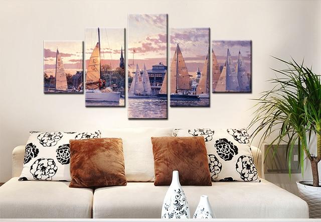 5 Stück Segelboot Leinwand Kunst Wand Bilder Für Wohnzimmer Moderne Poster  Und Gedruckt Wand Leinwand Kunst