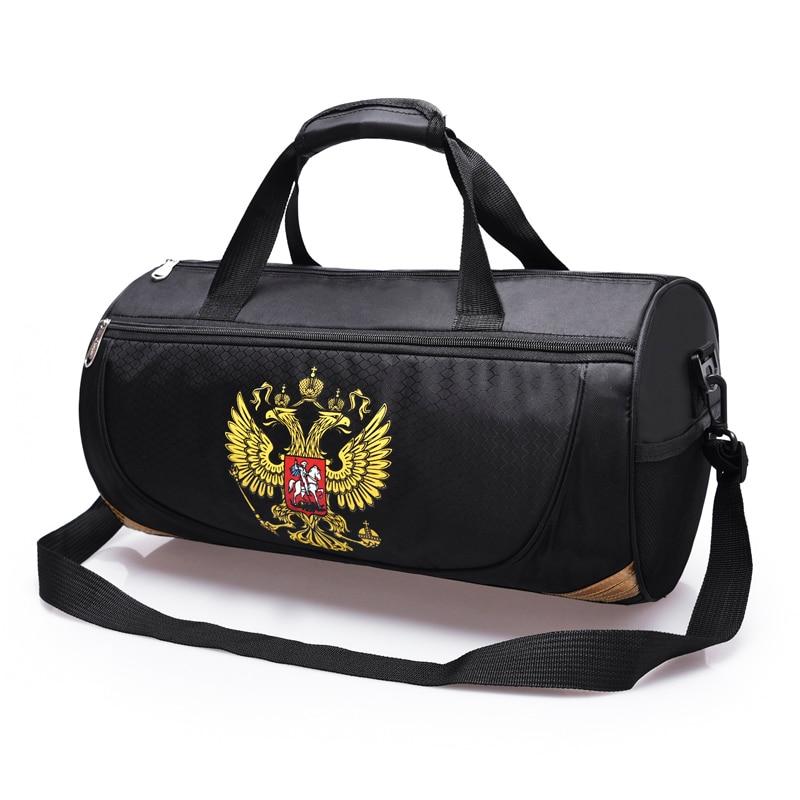 спортивная сумка с надписью герба России Водонепроницаемая сумка для фитнеса тренировок спортивная ручная дорожная сумка туристическая сумка через плечо со съемным плечевым ремнем школьная сумка для физического занятия