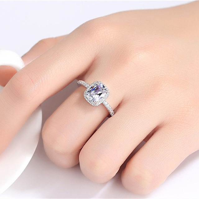 Sterling Silver Rings For Women Bridal Wedding Anelli Trendy Jewellery 4