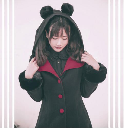 ФОТО Dolly Delly Harajuku Cozy Black/ Pink Bear Ear Hooded Single Breasted Color Block Jacket for Girl with Fur Cuffs