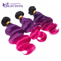 Beaudiva مسبقا الملونة الجسم موجة 1b/الأرجواني/الوردي الإنسان حزم 3 لهجة ريمي الشعر نسج حزم الثلاثة الشعر شحن مجاني