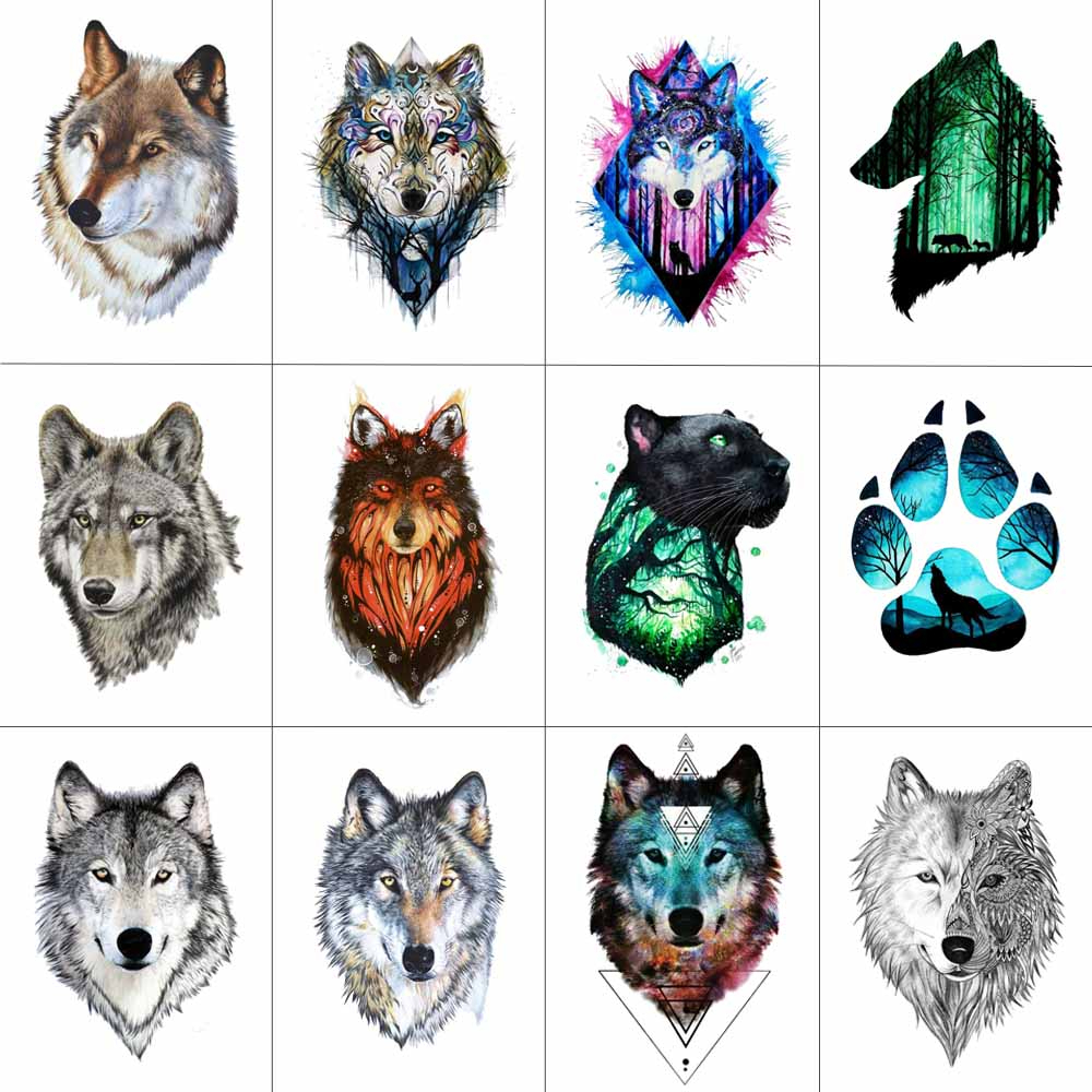 HXMAN 12 PCS/lot Wolf Temporary Tattoo Sticker For Women Men Fashion Body Art Adults Waterproof Hand Fake Tatoo 9.8X6cm W12-01