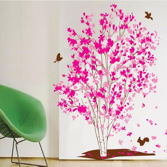 Rosa Baum Wandaufkleber Romantische Ahorn Tapeten Home Wohnzimmer Dekoration Kleber Wandbild