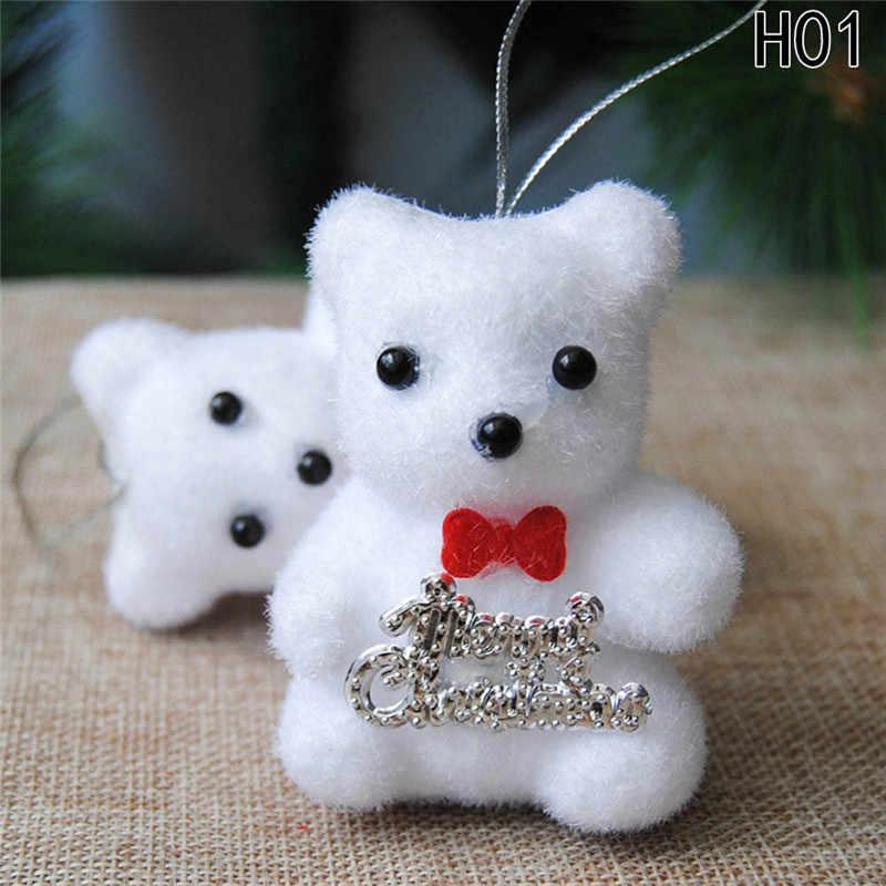 2 pçs/saco adorável branco espuma urso de natal veados para árvore de natal pingente decoração crianças presente casa ornamentos