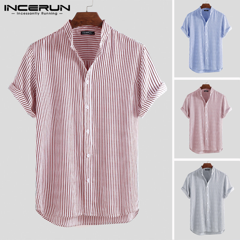 INCERUN Summer Men Striped Shirt Streetwear Short Sleeve Button Stand Collar Breathable Blouse Brand Business Shirts Camisa 2019