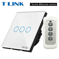TLINK EU Standard Remote Control Switch 3 Gang 1 Way Wireless Remote Control Wall Touch Switch