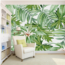Retro tropical rain forest palm banana leaf living room TV backdrop high - grade plant wallpaper