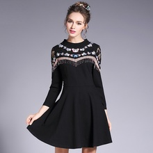 Vestidos 2017 New Spring Runway Women Dress Plus Size Lace Embroidery Tassel Patchwork Ladies Elegant A-line Dresses L- 4XL 5XL