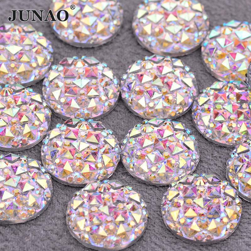 6 8 10 <font><b>12</b></font> <font><b>16</b></font> 20 30 35mm Large Crystal AB Rhinestone Applique Flat Back Resin Gems Round Crystal Stone Non Hotfix Diamond Strass image