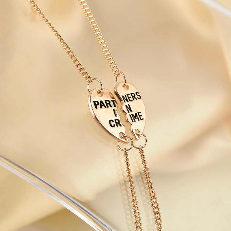 1 ペアユニセックスゴールデン銀色犯罪心友情ブレスレットバングルファッションジュエリーホット販売 2018