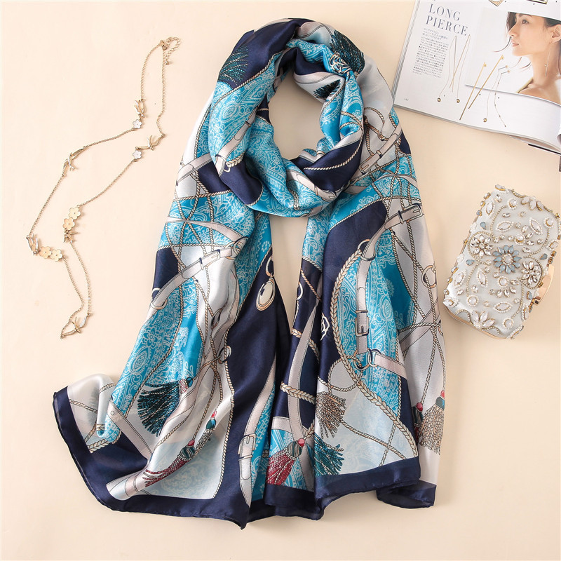 2019 New Luxury Women Silk Scarf Soft Print Scarves Large size Shawl and Wrap Long Lady Pashmina Beach Stole Hijabs
