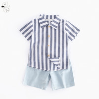 BINIDUCKLING 2017 Boy Set Summer Newest Design Baby Boys Clothing Set Striped Shirt Top Short Jeans