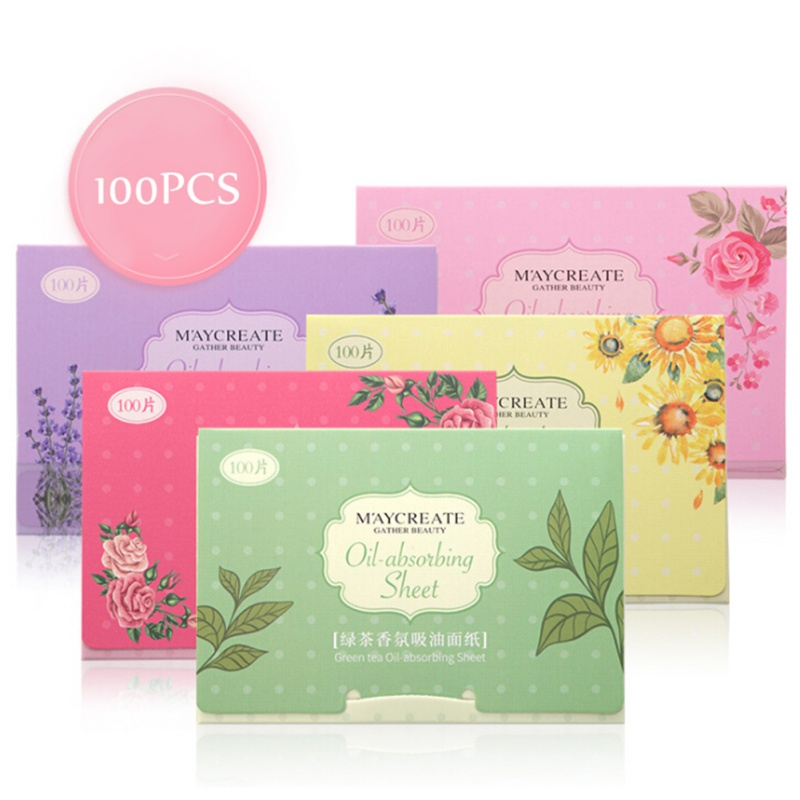 100Pcs Facial Oil Blotting Papers Oil Absorbing Sheets Face Cleanser Acne Treatment Deep Cleansing Oil Control Tool