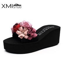 XMISTUO Women Slippers with Flower Female Summer Beach Wedges Slides Water-resistant 7CM High-heeled Slippers 2 Color 7180W xmistuo asual slopes with cool slippers ladiesnoble atmosphere on the grade high heeled shiny diamond slippers simple sandals