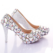 2016 Silver High Heels Crystal Bridesmaid Shoes Multicolor Colorful Chain Rhinestone Wedding Shoes Show Performance Prom Pumps
