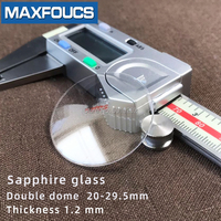Watch glass Anti-scratch sapphire Double dome Thick 1.2mm diameter  20 mm to 29.5 mm