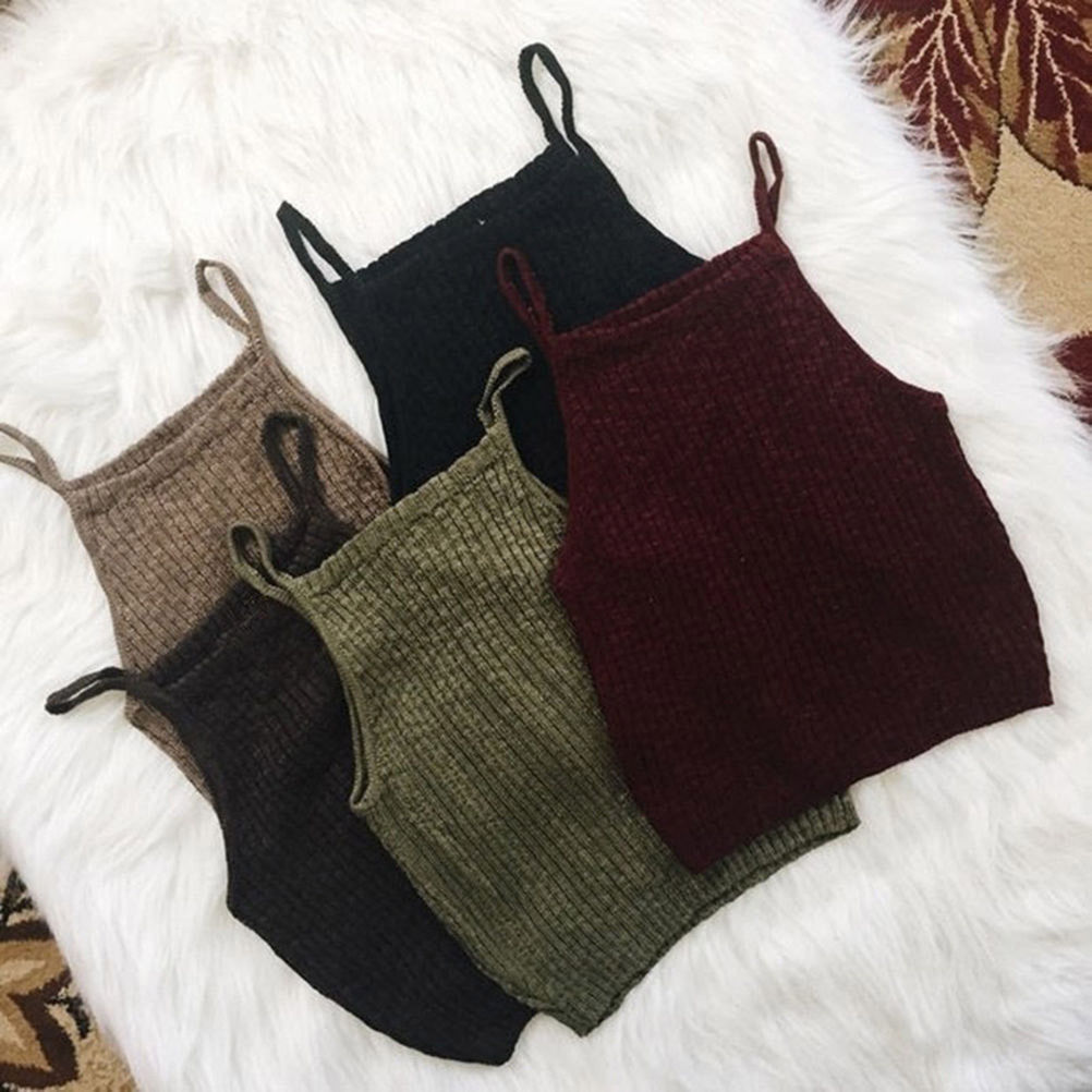 New Hot Sale Women Knitwear Sleeveless Casual Crop Tops Strap Knitted Off Shoulder Stretch Bodycon Tank Vest Camisole Outwear