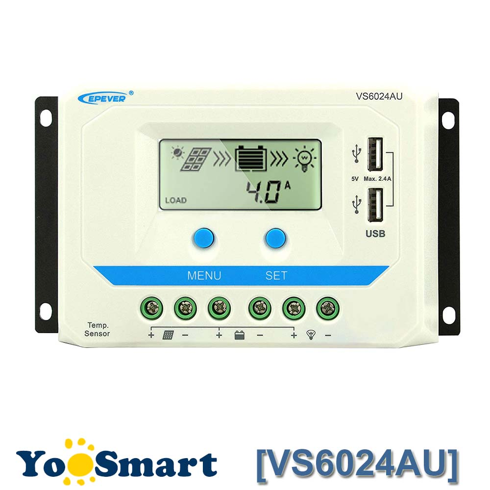 EPever 60A Solar Charge Controller PWM 12V 24V DC Auto Black Light LCD display Dual 5V