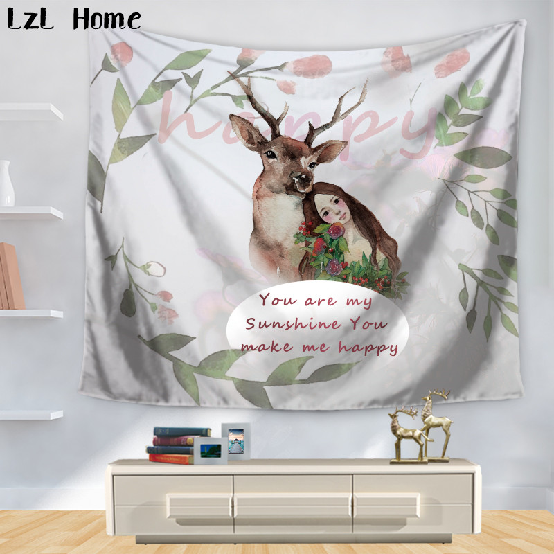 LzL Home Inspirational Letter Printed Tapestry Sweet Wreath Wall Hanging Tapestries Home Decor Rectangle 150*130/200*150cm yoga