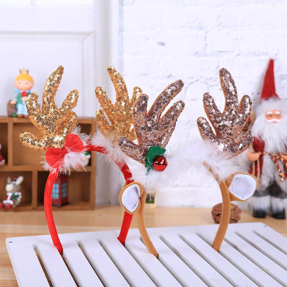 Christmas headband Hot Christmas Headband Santa Xmas Party Decor Double Hair Band Clasp Head Hoop christmas hair accessories