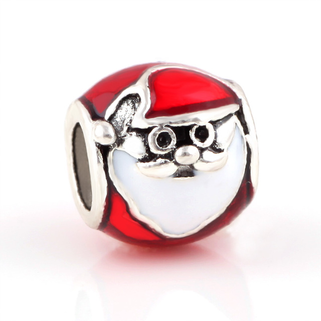 10 Pcs a Lot Christmas Alloy Beads Santa Claus DIY Big Hole Metal Beads  Spacer Murano 5f32d7d9bf42