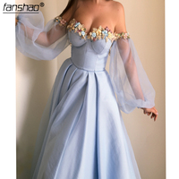 Sky Blue Evening Dresses Off the Shoulder A line Evening Gowns Dubai Gowns Prom Dress in Evening Dresses from Weddings & Events