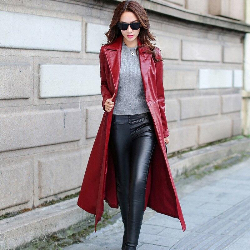 Autumn   Leather   Jacket Winter Plus Size Faux   Leather   Coat Female Fashion Bright Colors long sleeve Black Motorcycle Coats WKX015