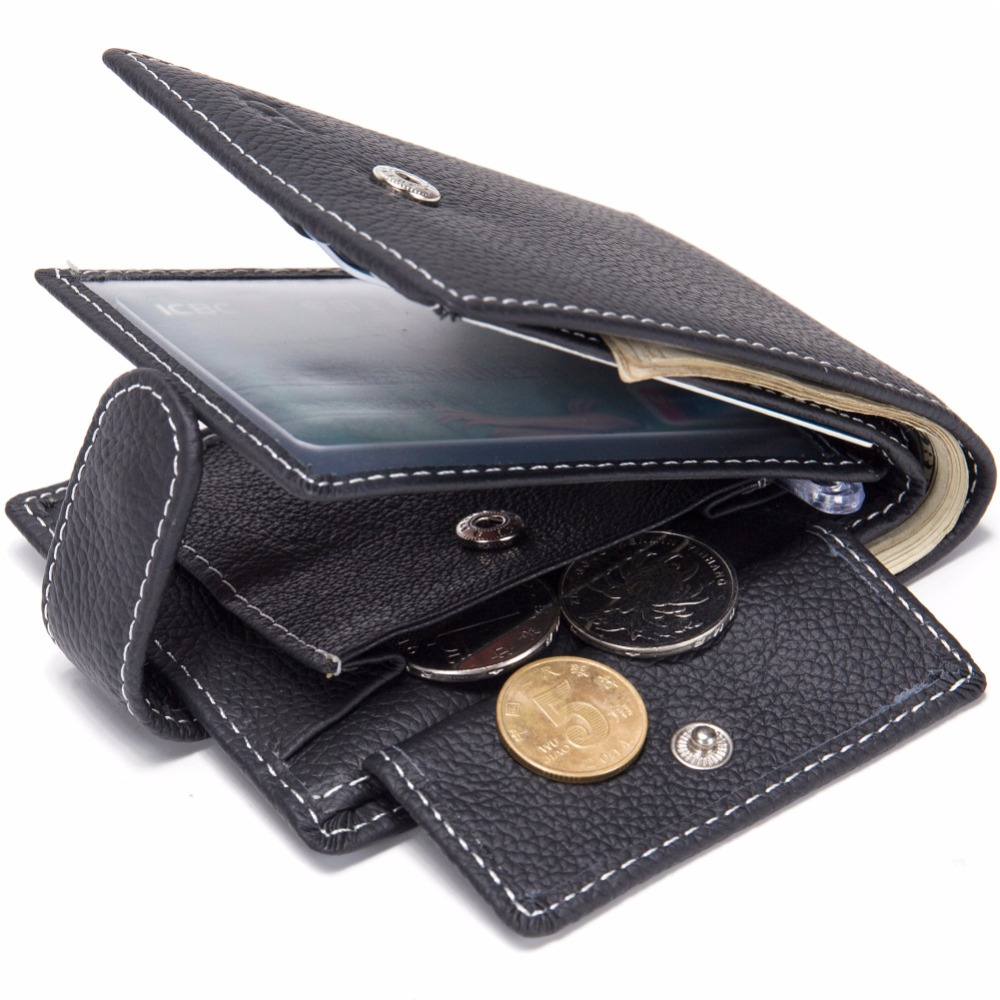 Genuine Leather Male portfel Men Wallet Purse Boy Day Clutch Bag Coin Money Zipper Bifold Gift Man Dollar Photo Card Holder W11