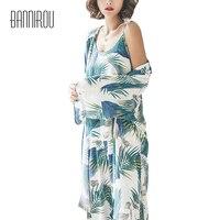 Pyjama Set Woman Printing Leaves Green Full Robe Camisole Pants Three Piece Suit Female Elegant Home